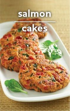 Fun version of an up-scale Valentine's Day dinner! These Salmon Cakes are given a boost with added vegetables, seasoned tomatoes and fresh spinach. Try this easy, less than 30-minute dinner recipe tonight.