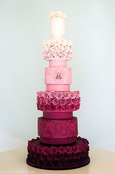 An ombre six-tiered cake goes from feminine to glamorous.
