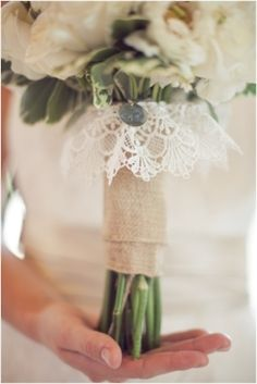flowers with burlap and lace. love it