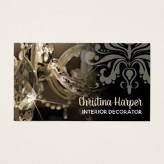 #Sparkly Chandelier & Damask Interior Decorator Business Card - #wedding gifts #marriage love couples