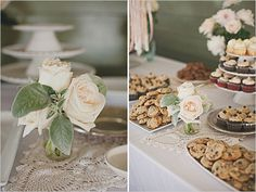 wedding dessert ideas - love this simple table of cookies and cupcakes..my favorite!