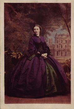 1860's lovely plum dress & green underskirt.