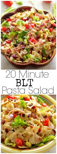 20-Minute BLT Easy Pasta Salad - INCREDIBLE flavor and so easy! Pin and make asap - you won't regret it!