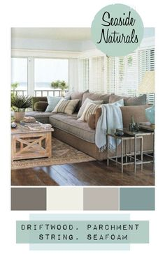 this is my style... beautiful colour scheme that is very coastal and cosy., coastal living room