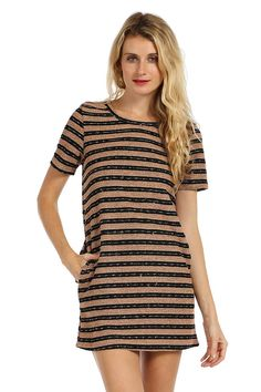 STRIPE PRINT POCKET TRIM KNIT SHIFT DRESS- Blush