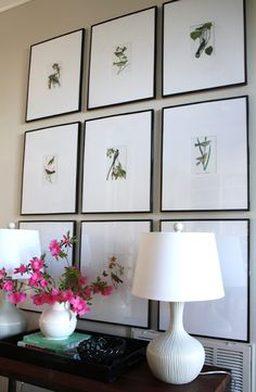 "her ""favorite plastic frames from Michael's"" + custom mats from eBay + images from AUDUBON'S MASTERPIECES coffee table book.  The extra small prints are just perfect to display together with so much white space... Great way to display Audubon without getting overwhelming"
