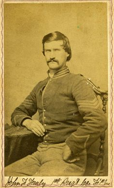 John Fealey was born in Morgan County, Virginia, and enlisted as a private in Company F, 1st Missouri Cavalry at St. Louis, Missouri, on October 1, 1862.    Fealey was promoted to corporal on January 1, 1864, to sergeant on September 15, 1864, and to first sergeant on February 13, 1865. He was mustered out of service on June 13, 1865.
