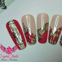 Stamping Nail Art, Gel Nail Art, Nail Art Diy, Acrylic Nails, Nails Polish, Red Nails, Nail Atelier, Sculpted Gel Nails, Nail Selection