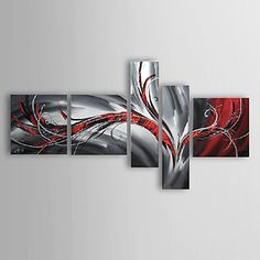 Hand-painted Abstract Oil Painting with Stretched Frame - Set of 5 – USD $ 139.99