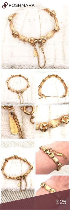 """VINTAGE Gorgeous MONET Gold Plated Bracelet VINTAGE Gorgeous MONET Gold Plated Bracelet With Stamped name. Approximately 7 3/8"""" long with clasp x 3/8"""" wide. In excellent vintage condition. All my items are from a smoke free environment. Thank you for stopping by!! Monet Jewelry Bracelets"""