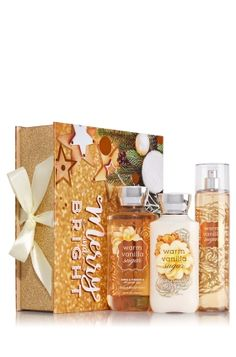 Warm Vanilla Sugar - Merry & Bright Gift Set - Bath & Body Works - Pure Christmas magic! Everything she needs to feel perfectly pampered—super-lathering Shower Gel (10 fl oz), hydrating Body Lotion (8 fl oz) and skin-loving Fine Fragrance Mist (8 fl oz)—comes dressed in a bright box with a happy holiday design sure to make her smile.
