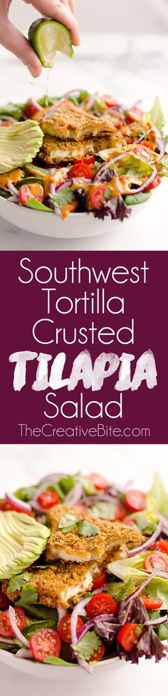 Southwest Tortilla Crusted Tilapia Salad is an easy and healthy 15 minute recipe made with an airfryer! A bed of mixed greens topped with tomatoes, avocado, red onion, Tortilla Crusted Tilapia and a homemade Chipotle Lime Dressing makes for a flavorful dinner idea you will love.