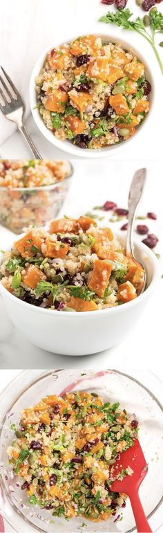 A deliciously sweet and zesty Roasted Sweet Potato Quinoa Salad recipe made gluten free and vegetarian with oven-roasted sweet potatoes, fluffy white quinoa, dried cranberries, onions and fresh herbs all dressed up in a zesty lime vinaigrette. This healthy quinoa salad recipe is perfect for lunch or as a side dish for dinner tonight.