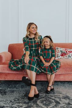 Holiday Cheer Collection : Holiday plaid mom and me matching Christmas dresses. Green and red gingham with a Peter Pan collar. By city city co. Mommy And Me Dresses, Mommy And Me Outfits, Mom Dress, Kids Outfits, Baby Outfits, School Outfits, Summer Outfits, Matching Christmas Outfits, Kids Christmas Outfits