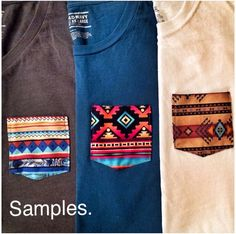 adding cute colored pockets to plain tees.