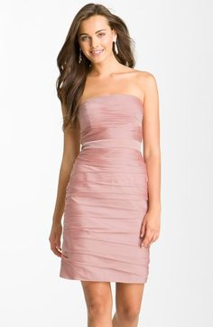 ML Monique Lhuillier Bridesmaids Ruched Strapless Cationic Chiffon Dress (Nordstrom Exclusive) (Regular & Plus Size) available at #Nordstrom