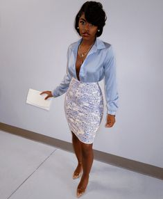 Baby blue satin silk collar long sleeve shirt plunge neck patterned midi ivory off white pencil skirt night out cute classy fashion outfit Classy Outfits, Stylish Outfits, Girl Outfits, Fashion Outfits, Date Night Outfit Classy, Outfit Night, Black Girl Fashion, Look Fashion, Classy Fashion