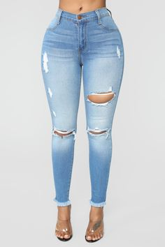 Women Jeans Outfit Hooded Trench Coat Sexy Party Dress Cheap Mens Clothes Online Formal Cocktail Dresses Light Blue Ripped Jeans Jeans And Heels Outfit – yuccarlily Light Blue Ripped Jeans, Cute Ripped Jeans, Skinny Jeans Style, Cropped Jeans, Skinny Fit, Denim Jeans, Heels Outfits, Jean Outfits, Momma Shirts