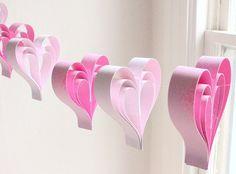 Pink Paper Hearts Valentines Garland  Weddings Kids by PaintRobot, $22.00