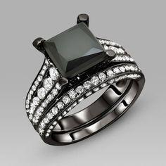 Black Engagement Ring for Women Black Cubic Zirconia Princess Cut Wedding Ring Set