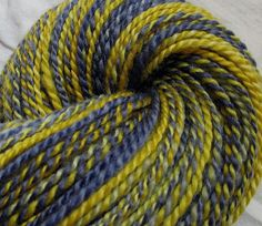 "SheepingBeauty on Etsy. ""Jeans and a T Shirt"" hand-spun yarn from Blue Faced Leicester fiber, hand-dyed by TactileDactyl on Etsy."