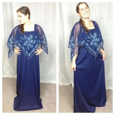 $25 Vintage Retro disco 70s scarf  chiffon maxi gown dress #Dresses