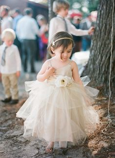 Lang Tüll Champagner Mädchenkleid mit Träger Blume Blumenmädchenkleider Blumenmädchenkleid