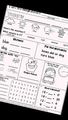 Free, printable morning work pages for second grade. Includes practice of number words, weather, date, seasons, rhymes, capitals, end marks, missing addends, time, number words, and long vowels. Great for your morning routine! #2ndgrade What Season Is It, First Week Of School Ideas, Shape Names, Bell Work, Long Vowels, Number Words, Rhyming Words, Morning Work, Second Grade