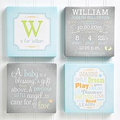 SOOOOO CUTE!!! I love this personalized baby canvas art print set - it comes in pink and yellow too! It's the perfect wall art for the nursery and would make a GREAT new baby gift too!