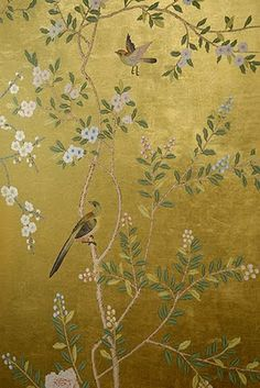 chinoiserie wallpaper :: silk wallpaper :: hand painted wallpaper :: hand painted silk wallpaper :: hand painted chinese wallpaper :: bespoke wallpaper and custom service :: hand painted furniture :: room divider :: la mano pint papel pintado :: papel p Wallpaper Co, De Gournay Wallpaper, Hand Painted Wallpaper, Wallpaper Panels, Painting Wallpaper, Fabric Wallpaper, Silk Painting, Designer Wallpaper, Gracie Wallpaper