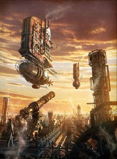 Gemini Artist: Dmitriy Filippov Why it is stunning: This rendering is an illustration for Gemini Zodiac sign #steampunk; canon; blimp; tower