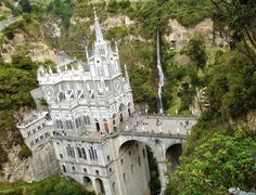 Las Lajas Sanctuary is a basilica church located in the southern Colombian Department of Nariño, municipality of Ipiales and built inside the canyon of the Guáitara River. The present church was built in Gothic Revival style between 1916 and 1949. The name Laja comes from the name of a type of flat sedimentary rock similar to shale.