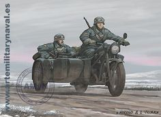 G. Moreno y A. Vallespin, Guardias civiles de la División Azul sobre una Zundapp KS 750.
