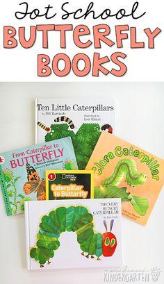 5 Great butterfly themed books for tot school, preschool, or the kindergarten classroom. Butterfly Classroom Theme, Classroom Themes, Kindergarten Classroom, Butterfly Books, Butterfly Kids, Caterpillar Preschool, Hungry Caterpillar, Toddler Books, Tot School