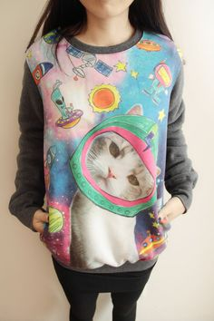 verys cute cat Star T shirt round neck loose long sleeved fleece warm winter new Korean version of casual