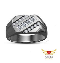 0.70Ct Princess & Round 14k Black Gold Plated 925 Silver Men's Wedding Band Ring #affoin8 #MensWeddingBandRing