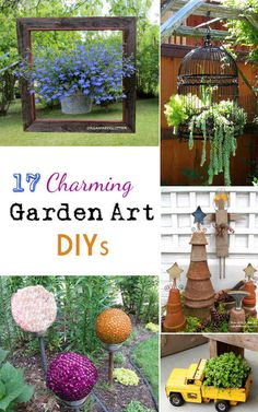 17 Charming Garden Art DIYs The black bird cage with the hanging succulent Brilliant!