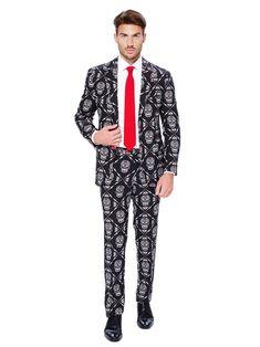 Costume Mr. Skeleton uomo Opposuits™ Dia de los muertos: Questo vestito da Mr. Skeleton è un prodotto con licenza ufficiale Opposuits.Si tratta di un abito elegante composto da una giacca, una cravatta e dei pantaloni effigiati con una simpatica stampa di calaveras messicani.