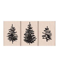 Hero Arts® 3 Pack Wood Mounted Rubber Stamps-Paintbrush Trees