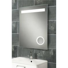 Bathroom Mirrors With Lights Built In tavistock vapour backlit mirror with magnifying mirror and heated