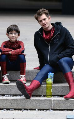 A couple of Spider-Men compare notes on the set of The Amazing Spider-Man 2. Too cute!