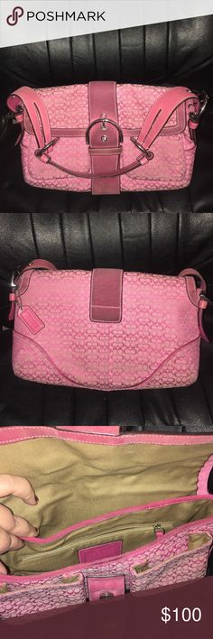 💯%  COACH - Mini Signature Soho - L04U-1463 Feminine pink soho bag with pocket flap. Super comfy to carry. I have been the only owner and it was bought directly from Coach retail store. I did carry it regularly for a bit, so the fabric would do well with a cleaning. Due to the suede, the magnetic closure has torn out of the fabric a bit. I think this could be fixed at a leather store (was from my ex so I just want to get rid of lol). Accepting offers Coach Bags Shoulder Bags