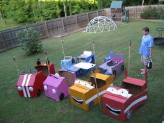 Box Cars for kids birthday party and a big screen to watch movies on. Drive in..i want to do this for ME