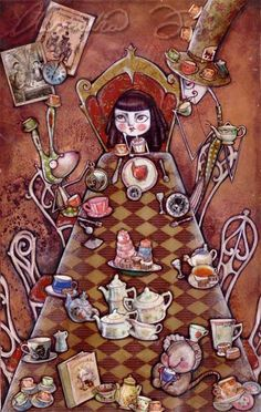 Alice in Wonderland - A Mad Tea Party dessin d'Alessandra Fusi (1984) artiste italienne. Essayant sans cesse de garder la tête dans les nuages et les pieds sur le sol... Même si parfois il arrive que ses pieds se soulèvent un peu...