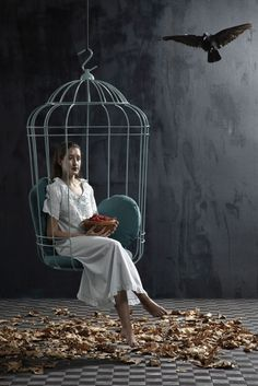 Surreally Suspended Cage Chairs : suspended bird cage