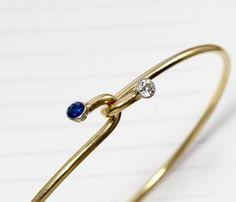Vintage Tiffany Diamond & Sapphire Bangle, 14k Yellow Gold Full Cut Diamond Bracelet, Stackable Bohemian Bridal Minimal Minimalist Jewelry