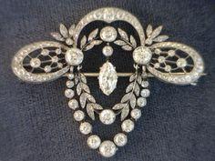 Edwardian Platinum & Diamond Garland Brooch, c. 1903