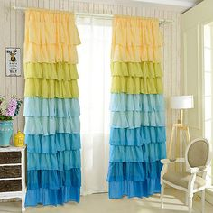 1 PC Ruffle Sheer Curtain Panels Drapes Valances Rod Pocket Polyester - Bathroom Accessories - Home & Garden Modern Curtains, Colorful Curtains, Sheer Curtain Panels, Panel Curtains, Ruffle Curtains, Custom Drapes, Curtain Designs, Home Decor Store, My New Room
