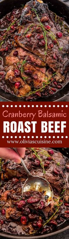 Cranberry Balsamic Roast Beef | www.oliviascuisine.com | This holiday season, impress your guests with this delicious Cranberry Balsamic Roast Beef! A little tangy, a little sweet and a whole lot of mouthwatering. Perfect to feed a crowd! (Recipe and food photography by @oliviascuisine.) AD #BeefItsWhatsForDinner #RethinktheRanch