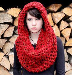 Bufanda + cuello + gorro en Rojo